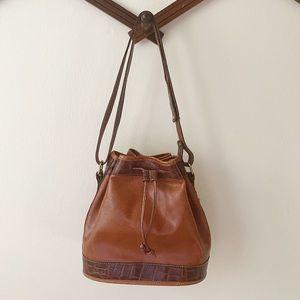 Vintage Brahmin Leather Croc Bucket Crossbody Bag